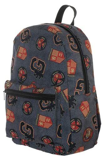 backpack covered in Gryffindor symbols on grey material