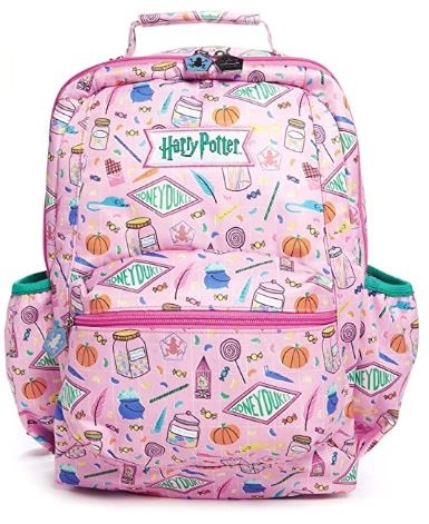 pink backpack covered in Honeydukes print