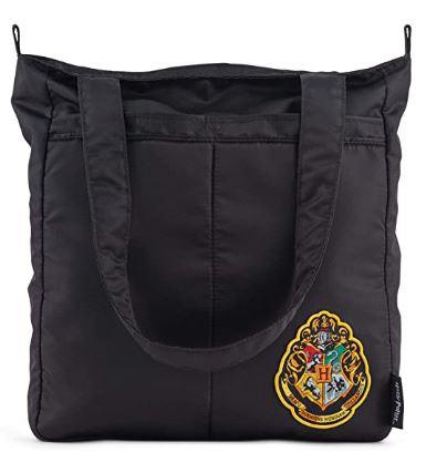 black tote bag with Hogwarts crest in corner