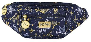 dark blue fanny pack with flying keys print