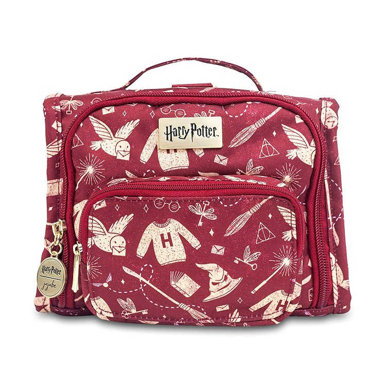 red messenger bag covered in Potter-themed objects print