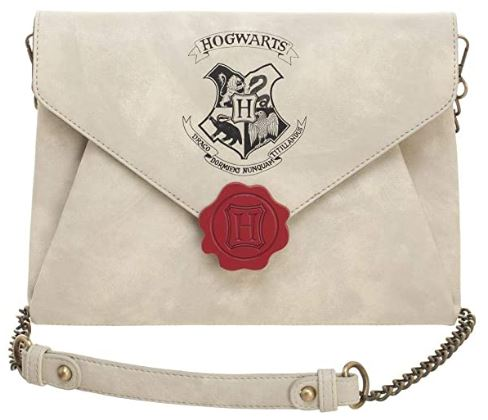 clutch purse with strap designed like Harry's Hogwarts acceptance letter