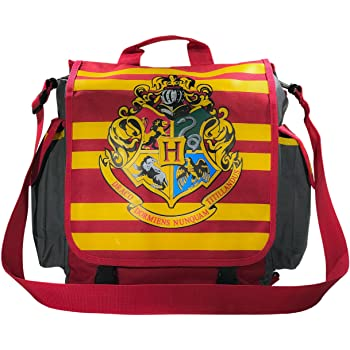 red and yellow striped bag with large Hogwarts crest