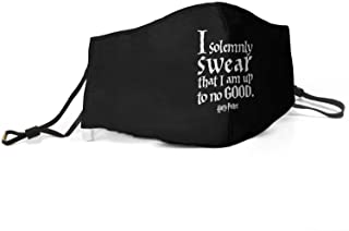 "Harry Potter face mask reads ""I solemnly swear that I am up to no good"" with black background"