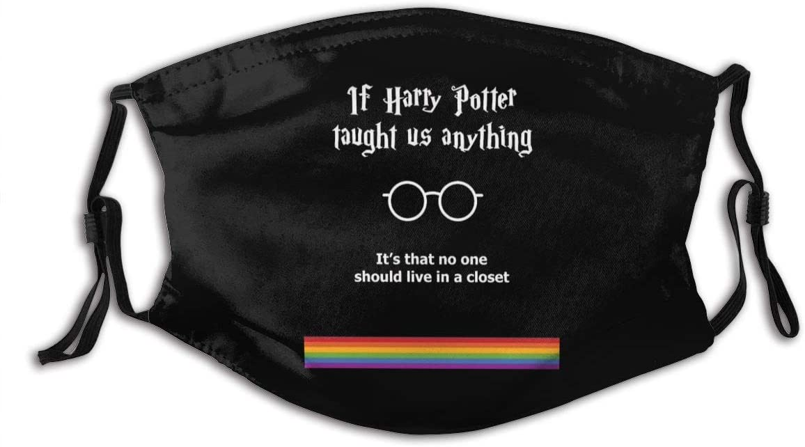"Harry Potter face mask reads ""If Harry Potter taught us anything it's that no one should live in a closet"" with Harry Potter glasses and rainbow"