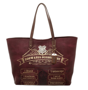 A tote bag with the Hogwarts school supply list on it.