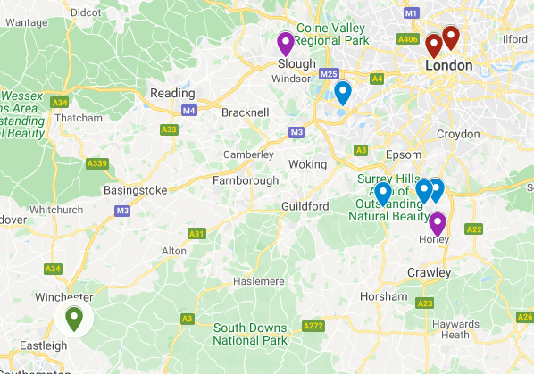 A map of Surrey and London in England is pictured with markers to mark potential Little Whinging-like towns, trains stations, drill factories and the zoo.