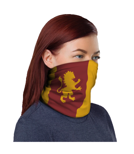 The Gryffindor Neck Warmer, included in the Room of Requirement Wizarding World Crate from Loot Crate, features the Gryffindor colors and the House mascot on one side. On the opposite side, the Dumbledore's Army logo is pictured.