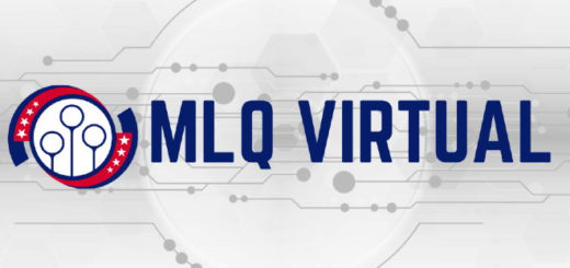 "Logo Major League Quidditch and the sign ""MLQ Virtual"". Background is white with grey circle.."