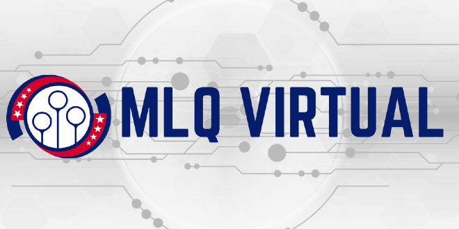 """Logo Major League Quidditch and the sign """"MLQ Virtual"""". Background is white with grey circle.."""