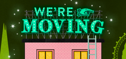 "MinaLima's House of MinaLima ""We're Moving"" art is shown as a featured image."