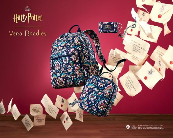 Vera Bradley backpack and bag designs appear to be floating in the air with Hogwarts acceptance letters against a red background.