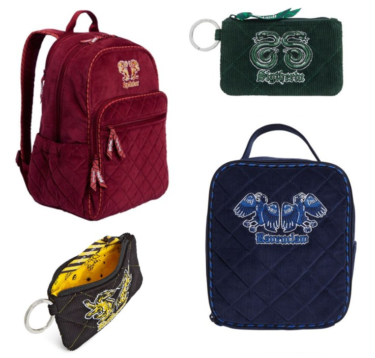 Vera Bradley's desins are pictured: a Gryffindor backback, a Hufflepuff and a Slytherin wallet, and a Ravenclaw lunchbag.