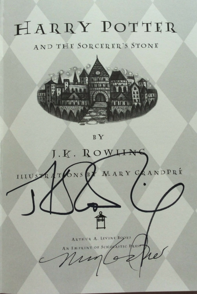 """Title page of """"Sorcerer's Stone"""" with signatures"""