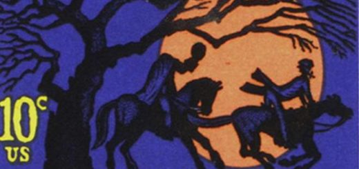 Stamp with the headless horseman in sleepy hollow