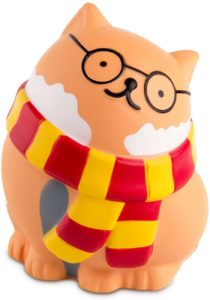 A Gryffindor-themed squishy stress ball cat
