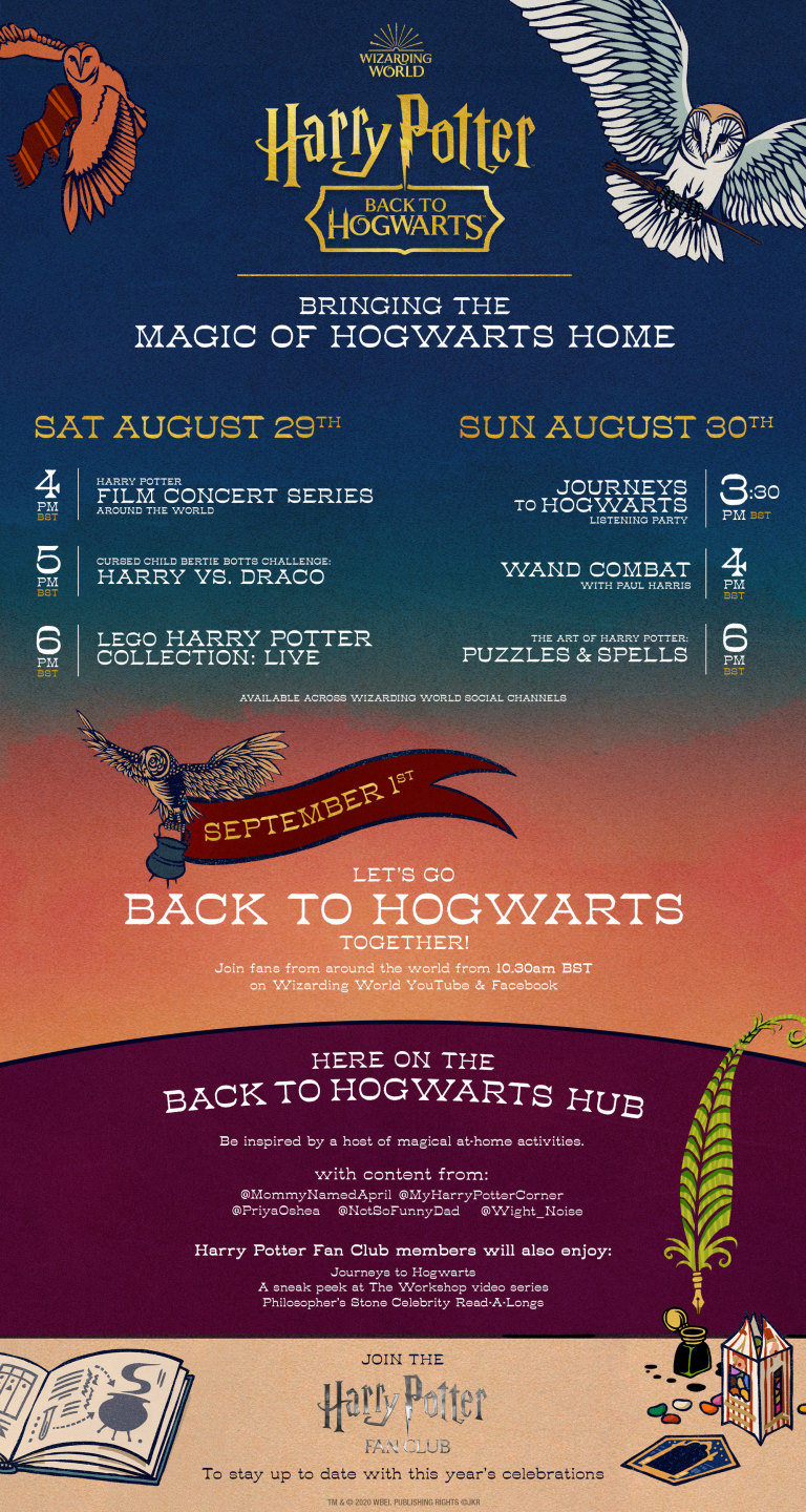 Schedule of events for Back to Hogwarts weekend with WIzarding World Digital
