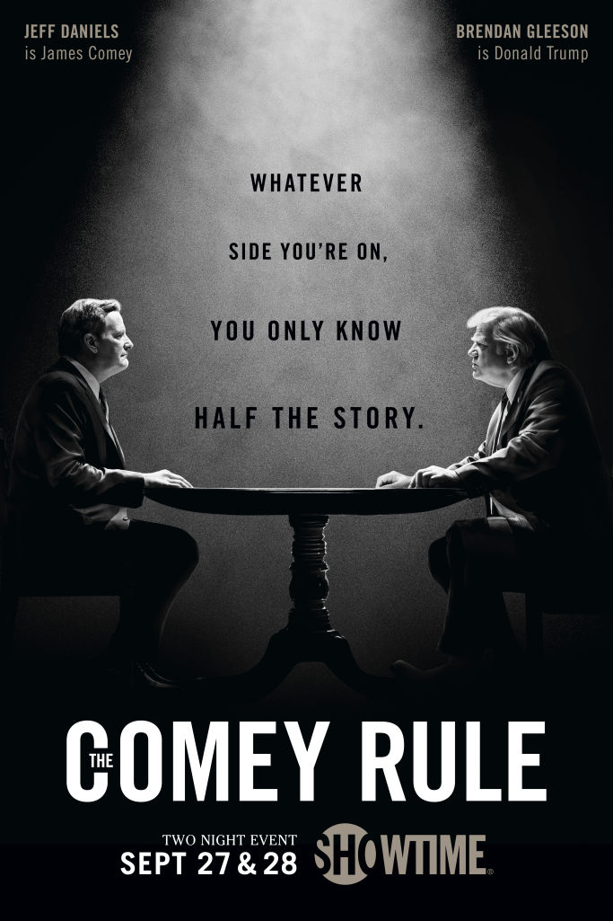 "Pictured is a poster featuring Brendan Gleeson in ""The Comey Rule""."