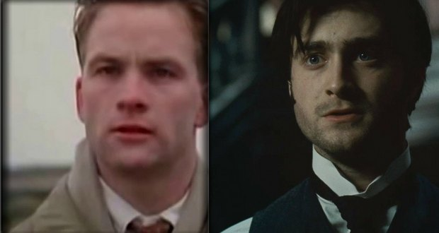 "Adrian Rawlins, left, and Daniel Radcliffe, right, are pictured in their respective productions of ""The Woman in Black""."