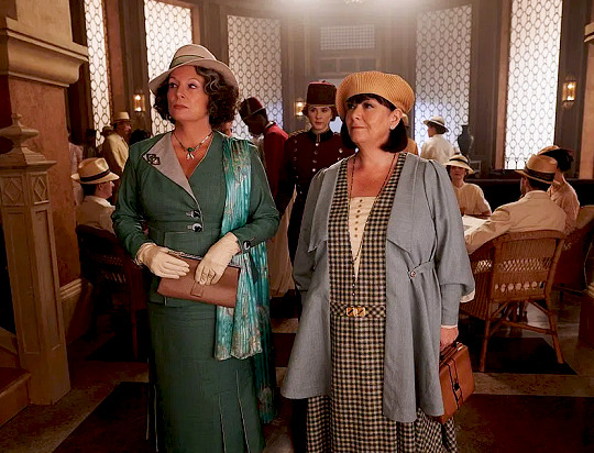 "Jennifer Saunders and Dawn French show classic sophistication in ""Death on the Nile""."