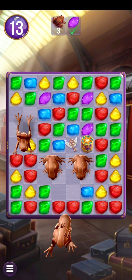 Chocolate Frogs croak their way across the board; players must send them hopping away to finish the puzzle.