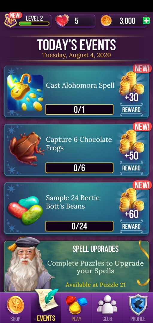 Daily events give you a chance to earn additional gold and power-ups.