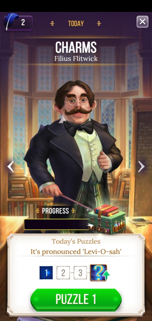 Filius Flitwick offers up a special set of daily puzzles.