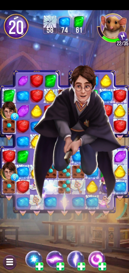 Harry Potter flies over the game board, dropping needed stones as he goes.