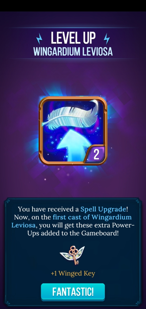 Spells earned by completing puzzles can be upgraded to yield even more rewards.