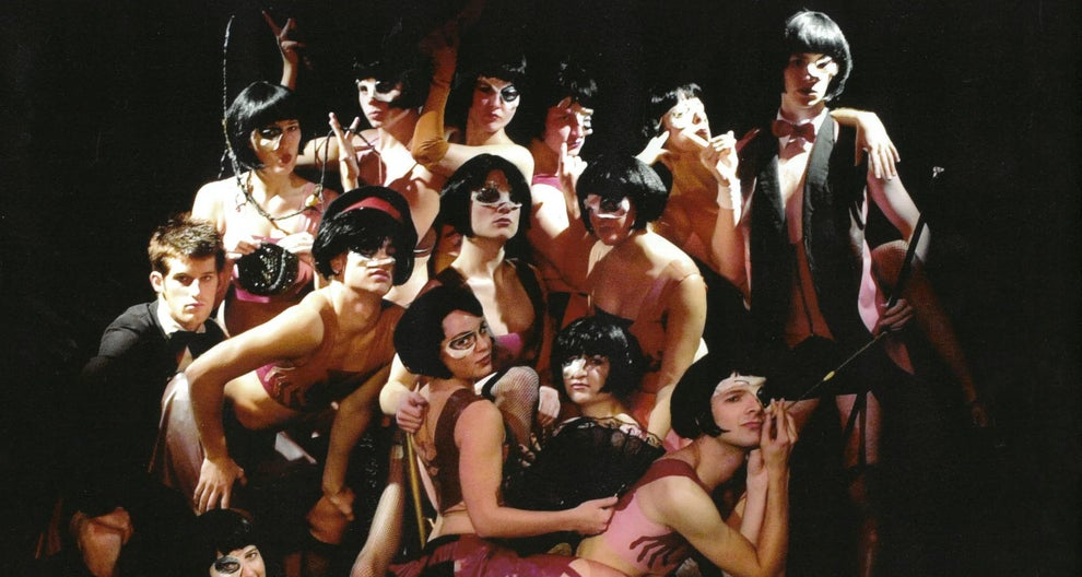 "Eddie Redmayne is pictured in a cast photo from a 2001 production of ""Cabaret""."
