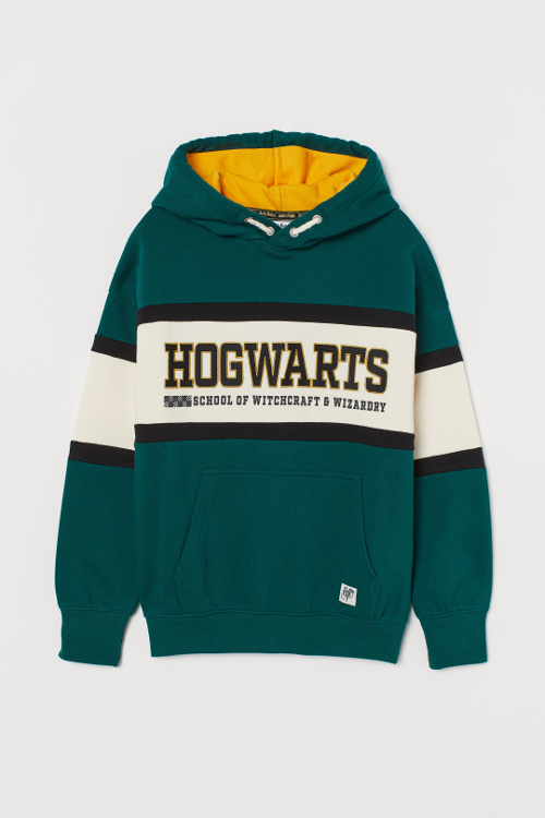 A dark green embroidered-detail hoodie from the Harry Potter x H&M collection is pictured.