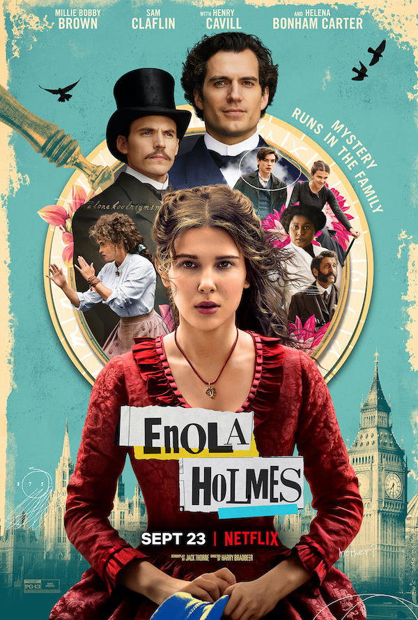 "Pictured is a movie poster for ""Enola Holmes""."