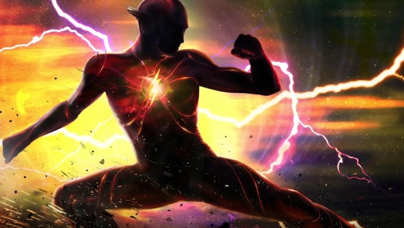 "Ezra Miller's suit is on full, awesome display in this concept art from ""The Flash""."