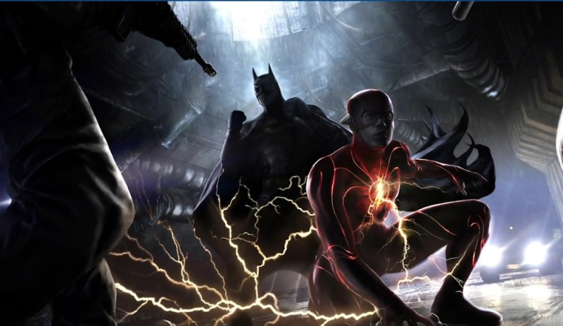 "Batman admires his work on Ezra Miller's suit in this concept art from ""The Flash""."