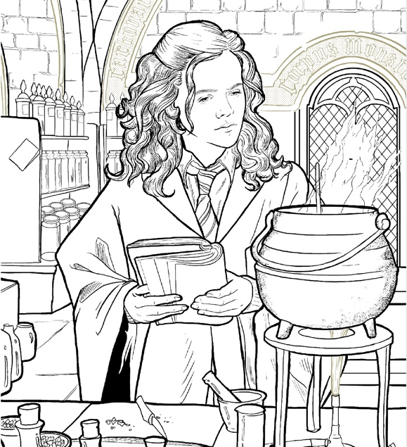 """Harry Potter: Coloring Wizardry"", Hermione at her cauldron"