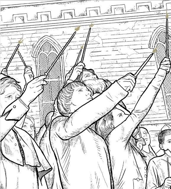 """Harry Potter: Coloring Wizardry"", wands up"
