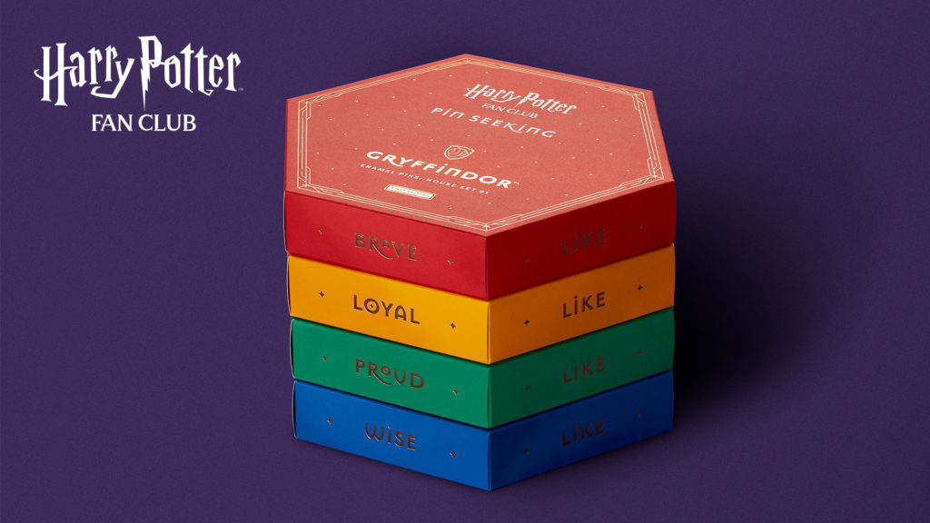 The hexagonal pin boxes are themed for each Hogwarts House. They also fit together with magnets so you can display your collection.