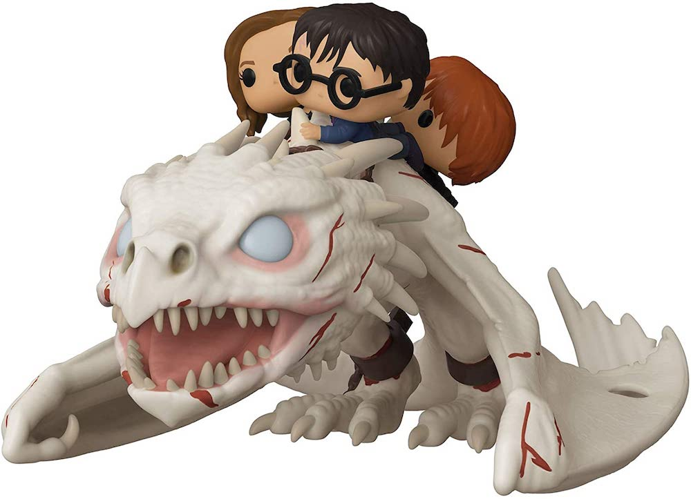 An image of a Funko Pop! of Harry, Hermione, and Ron Riding Gringotts dragon.