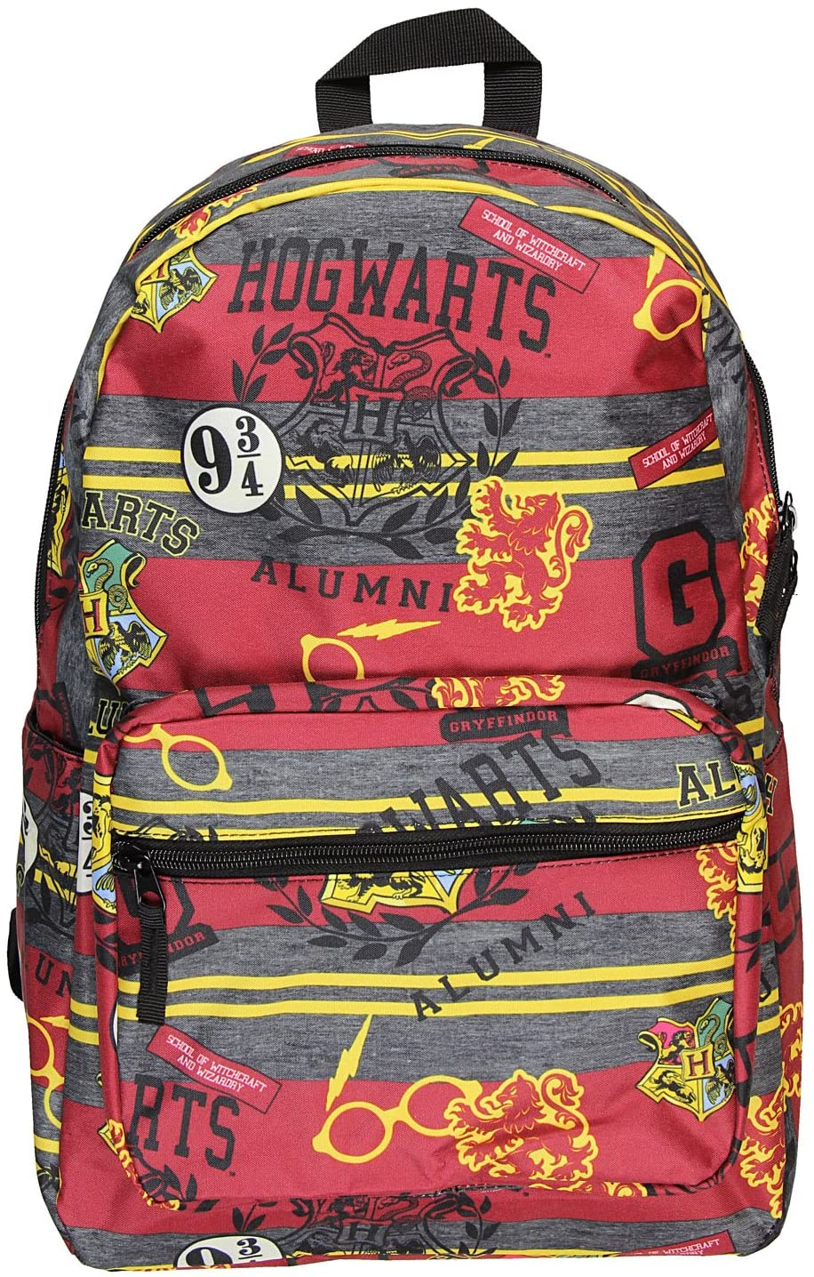 red, grey, and yellow backpack with Hogwarts alumni print, Hogwarts crest