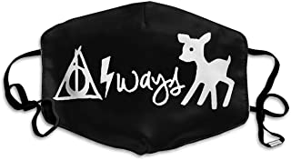 "black face mask with white design showing ""Always"" with Deathly Hallows symbol, lightning bolt, and doe"