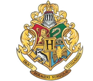 The crest of Hogwarts has the four House mascots on it