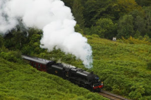 The Hogwarts Express winds through the Scottish countryside