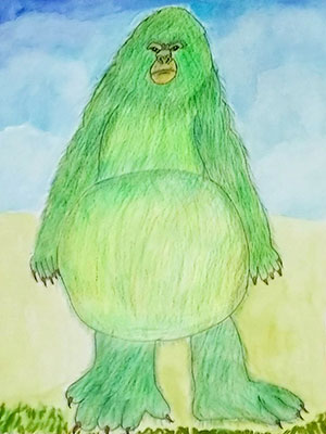 """Pictured is an illustration for the United Kingdom edition of """"The Ickabog"""" by Aron, 7, of India."""