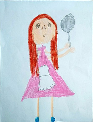 """Pictured is an illustration for the United Kingdom edition of """"The Ickabog"""" by Béibhinn, 8, of the Republic of Ireland."""