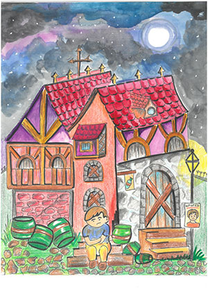 """Pictured is an illustration for the United Kingdom edition of """"The Ickabog"""" by Divyanshi, 8, of India."""