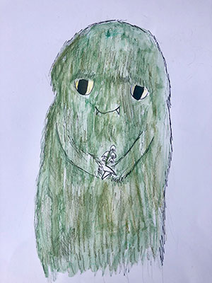 """Pictured is an illustration for the United Kingdom edition of """"The Ickabog"""" by Evelyn, 8, of the UK."""