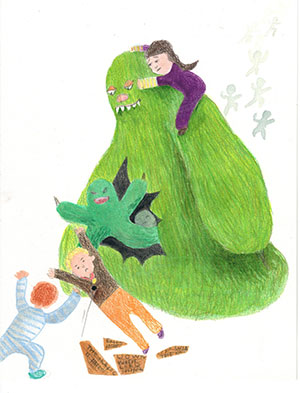 """Pictured is an illustration for the United Kingdom edition of """"The Ickabog"""" by Grace, 8, of Australia."""
