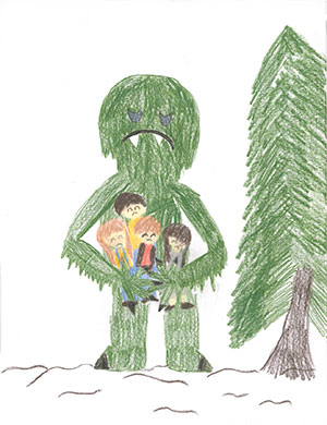 """Pictured is an illustration for the United States edition of """"The Ickabog"""" by Fleur, 9, of Washington."""