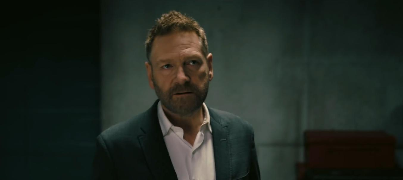 "Sir Kenneth Branagh doesn't look too evil in this film still from ""Tenet"", but apparently, he still is."