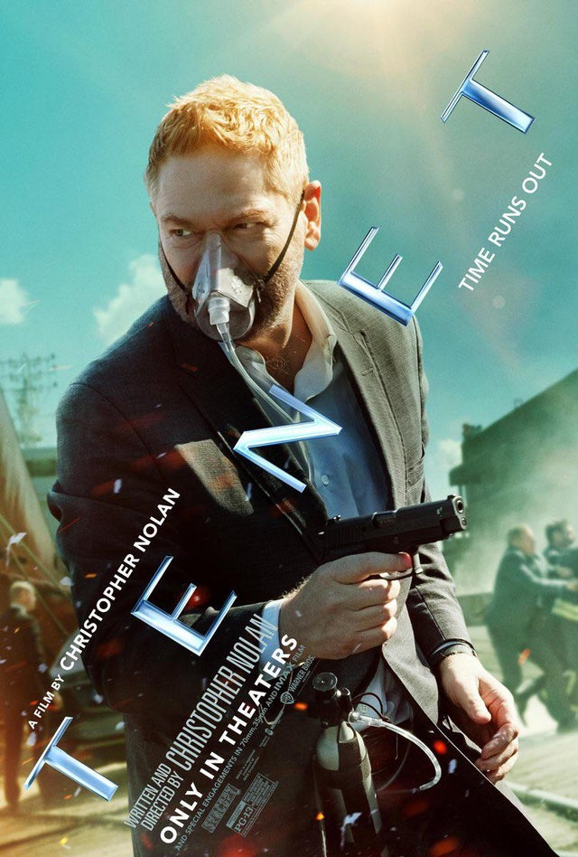 "Sir Kenneth Branagh has the right idea during a pandemic in this poster for ""Tenet""."